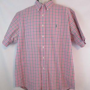 Ralph Laruren Mens Pink and Blue Button Down XL